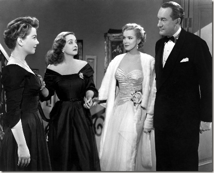 "The 1950 film ""All about Eve"" received a record 14 Academy Award® nominations, breaking the previous record of 13 nominations held by ""Gone with the Wind"" since 1939.  Shown here in a scene still from the film are (left to right): Anne Baxter, Bette Davis, Marilyn Monroe and George Sanders. Restored by Nick & jane for Dr. Macro's High Quality Movie Scans Website: http:www.doctormacro.com. Enjoy!"