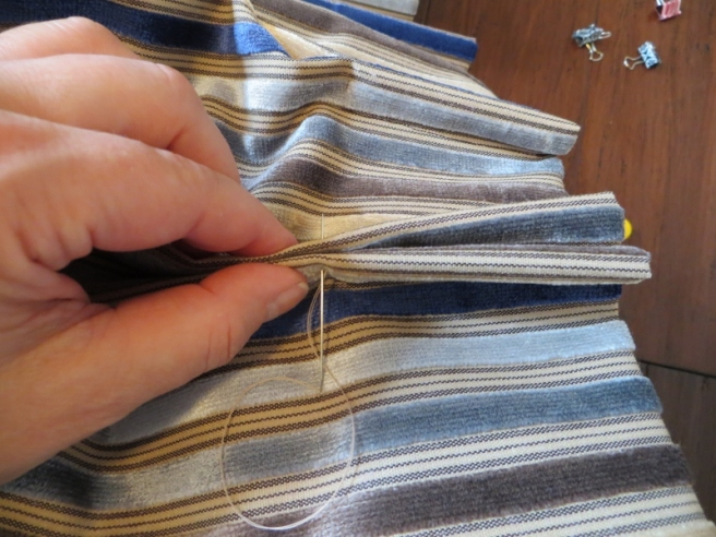 hand sewn pinch pleats