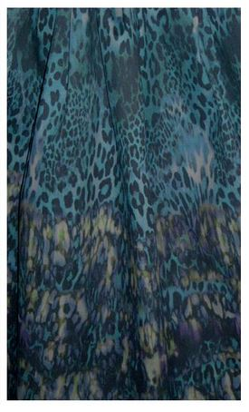 teal leopard denim fabric